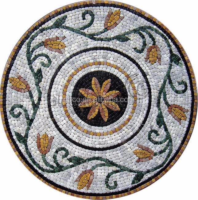 stone marble medallion mosaic mural for interior and exterior