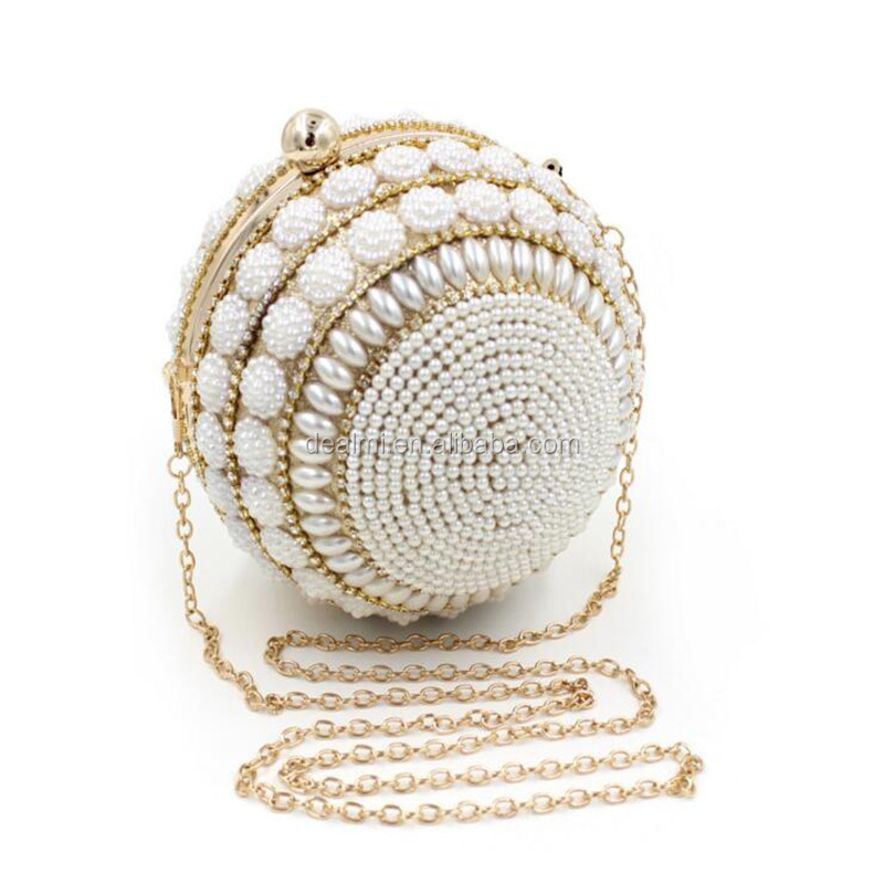 DEMIZXX271 Wholesale Custom Europe New Trend Dinner <strong>Bags</strong> Round Elegant Wedding Beaded Evening Box Pearl Clutch <strong>Bags</strong>