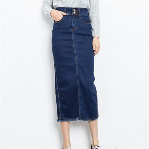649a9d498 Get Quotations · Free Shipping High Waist Denim Skirts Mid-Calf Women Long Skirts  Fashion Preppy Style 2015