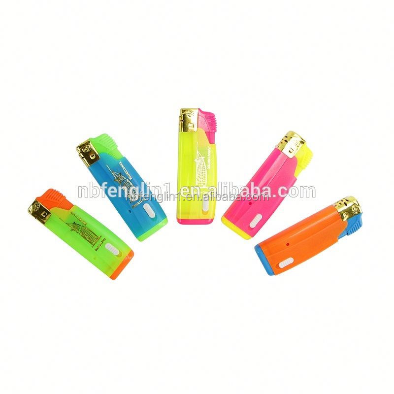 Refillable Colorful windproof transparent Butane gas Plastic flint electronic piezo lighter parts with LED