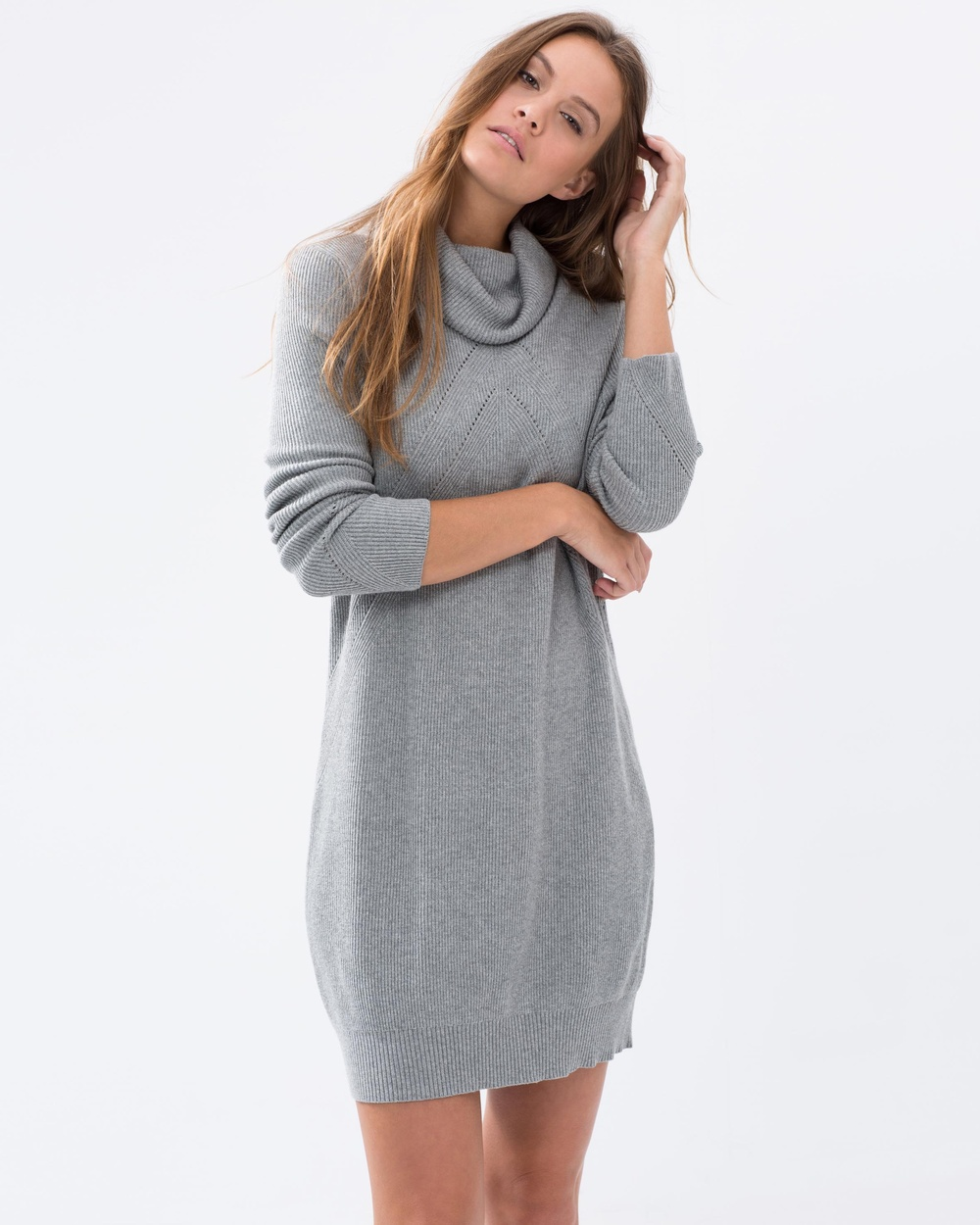 Acylic Heather Grey Knit High Neck Loose Fit Winter Sweater Dress ...