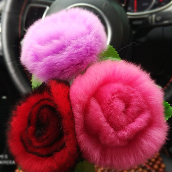 Valentine's Day Artificial A Box Handmade Brooch Headband Fur Silk Fabric Pink Party Pom Mink Rose Flower