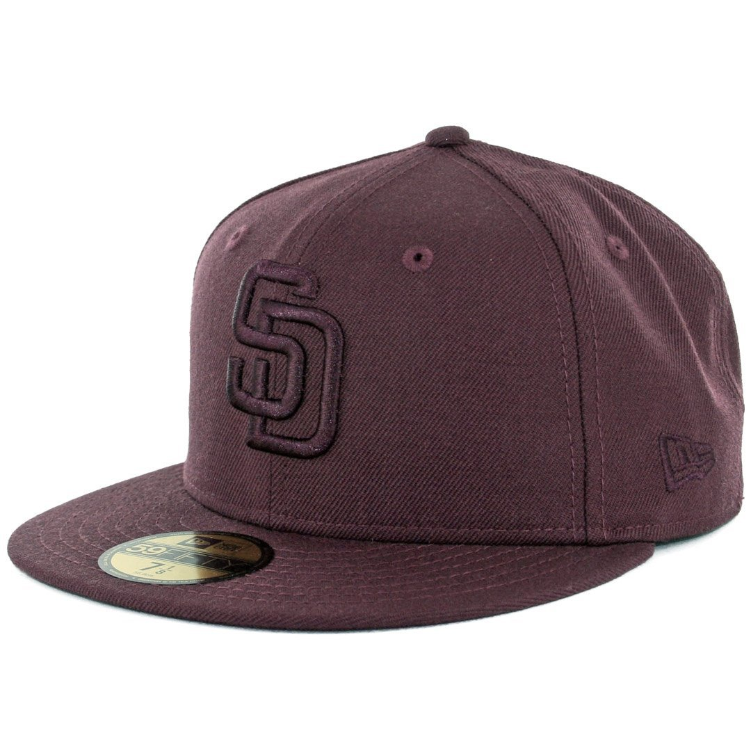 b50229cf29c Get Quotations · New Era 59Fifty San Diego Padres Tonal Fitted Hat (Maroon  Red) Cap