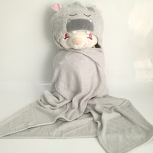 customize animal organic bamboo terry baby hooded bath towels