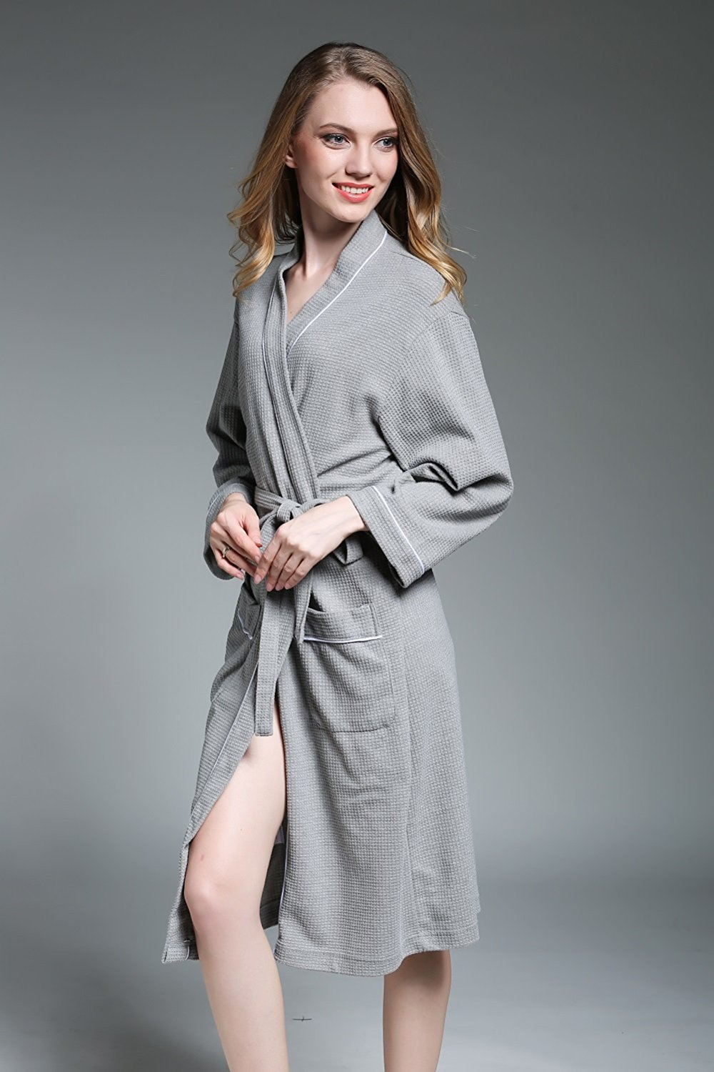 09882c272c Get Quotations · ALJL Lovers bathrobes soft cotton bathrobe hot spring  gowns knitted cotton comfortable breathable gray bathrobes