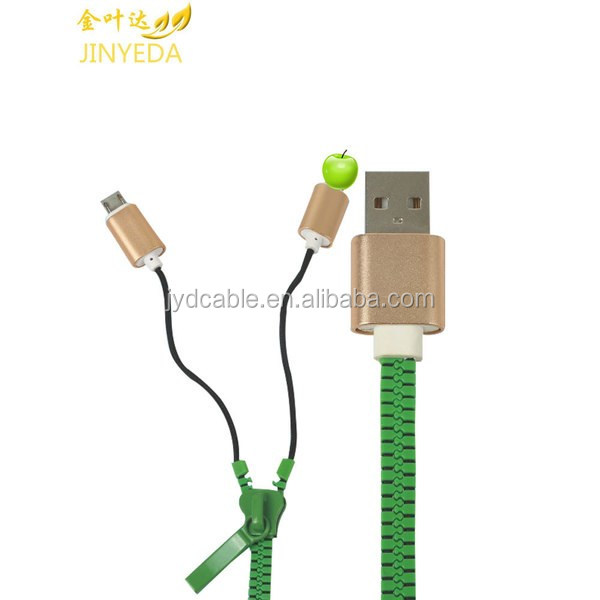 2016 new products zipper usb 2.0 to micro usb charger cable data sync for samsung mobile phones for smart phone