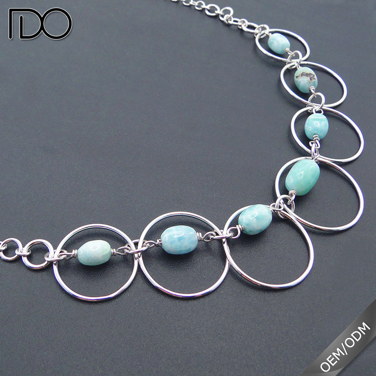Lastest design larimar jewelry necklace,larimar statement necklace,larimar stone jewelry