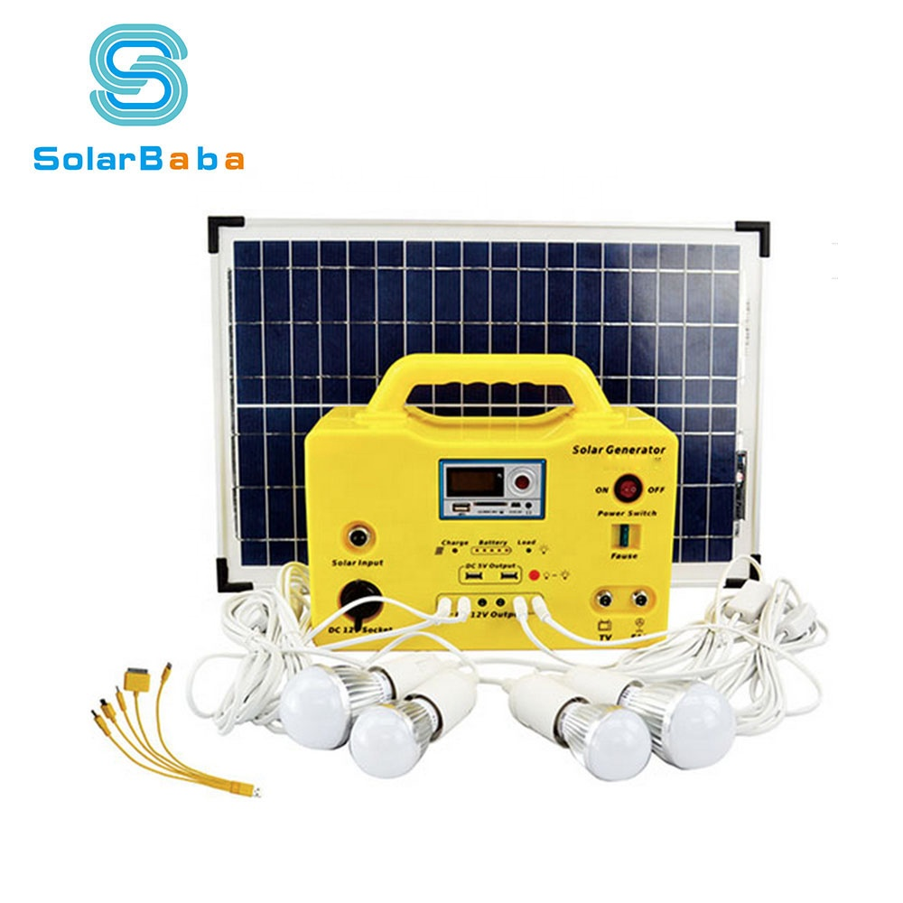 Mini Small Complete Portable 12v 18v 10w 20w 30w 50w Solar Home Led Lighting System Kit