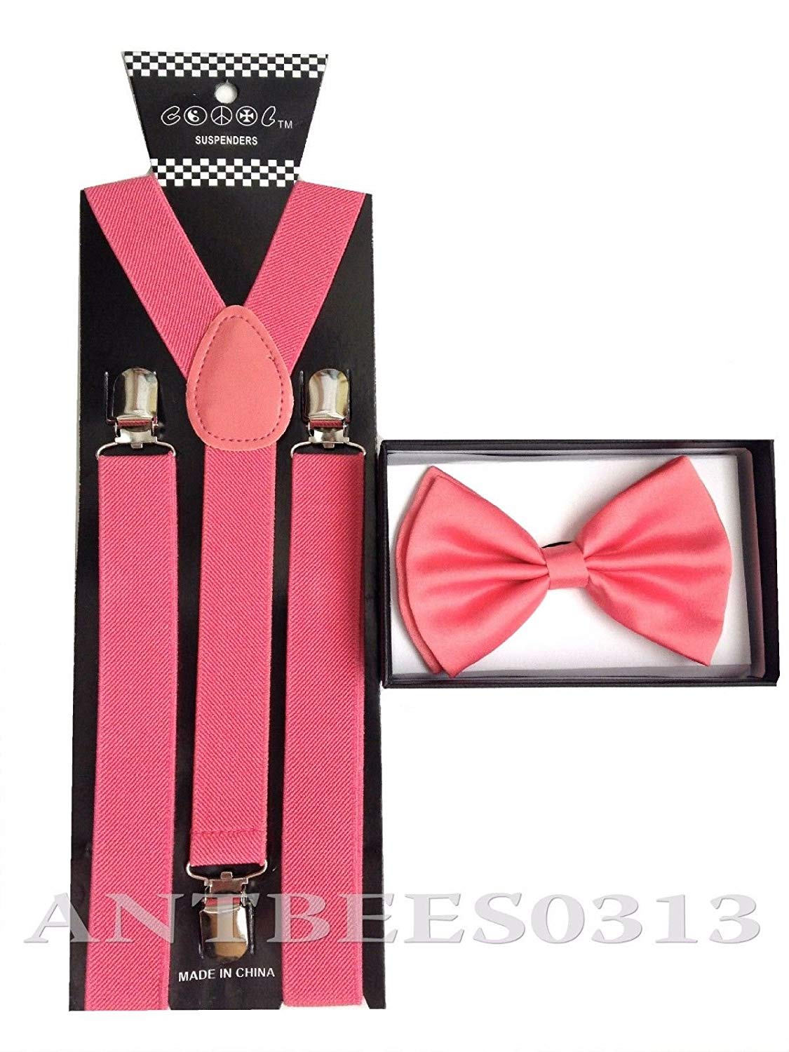 Awesome Peach Pink Wedding Accessories Adjustable Bow Tie & Suspenders