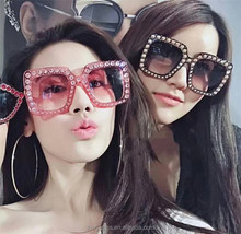new trends fashion fully-jewelled sun glasses women big square frame diamond sunglasses 2018