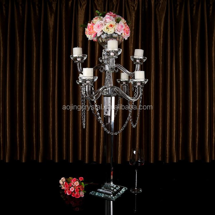 Hot sale tall wedding crystal candelabra with flower bowl top for wedding centerpieces decoration