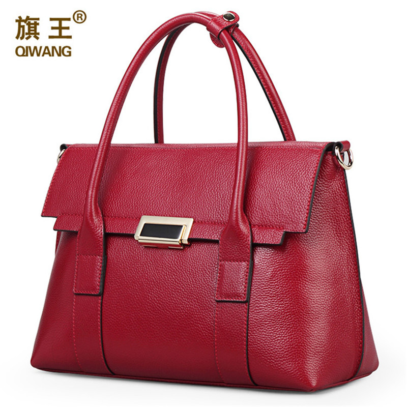 02c0f41760d36 Qiwang كبيرة البني المرأة حقيبة حقيقي حقيبة جلدية فاخرة ماركة حمل cc جودة  عالية رفرف إغلاق