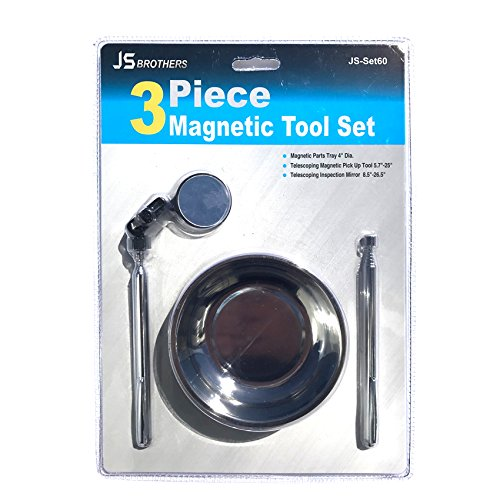 Magnetic Tool 3 piece Set Stainless Steel Heavy Duty 4 Inches Round Tray with Mini Telescoping Magnetic Extendable Pick-Up Tool 25 Inches and Flexible Telescoping Round Glass Pocket Inspection Mirror
