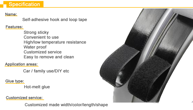 25mm black white adhesive hook and loop back glue magic tape points