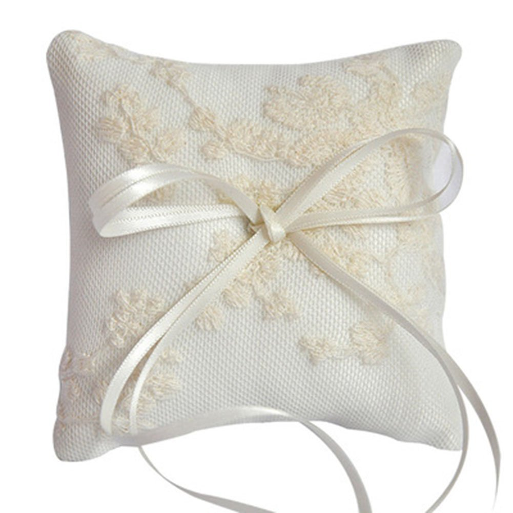 Doragrace 10X10cm Romantic Lace Wedding Ceremony Ring Bearer Pillow Cushion with Satin Double Bowknot (Ivory)