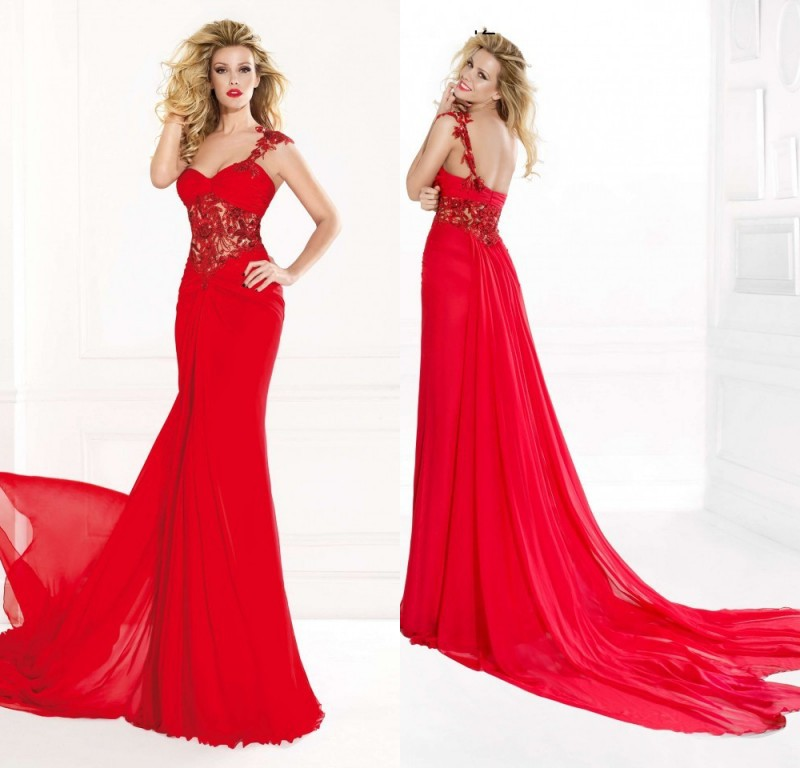 374a577b8b7 Hot Sale 2015 Stunning Evening Dress Long Red Chiffon Prom Dresses One  Shoulder Lace Appliqued