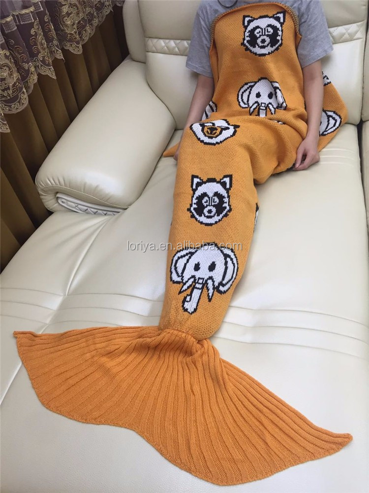Funny Halloween Christmas Gift Blanket Knitted Many Pattern Mermaid Tail Blanket