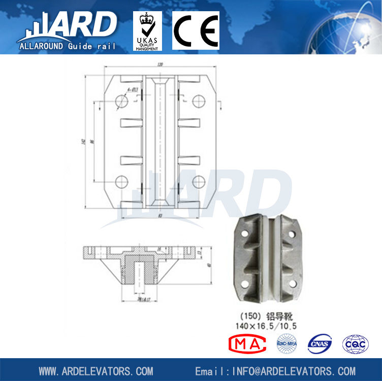 elevator guide shoe for lift parts, 140*16.5/10.5-ARD aluminem guide rail