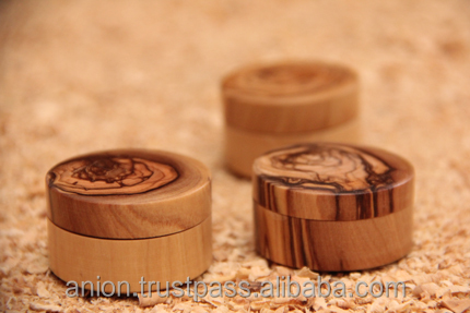 Olive Wood Small Round Jewelry Box