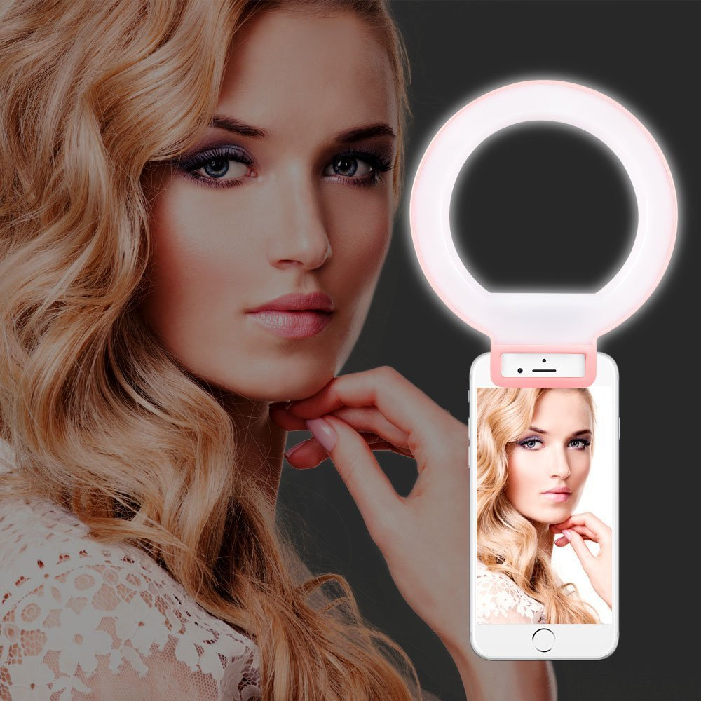 Selfie Ring - Yarrashop Portable LED Selfie Ring Light Clip with 48 Led Bulbs-on Supplementary Lighting Night Darkness Selfie Enhancing Photography for iPhone and Other Smartphones, Tablets (Pink)