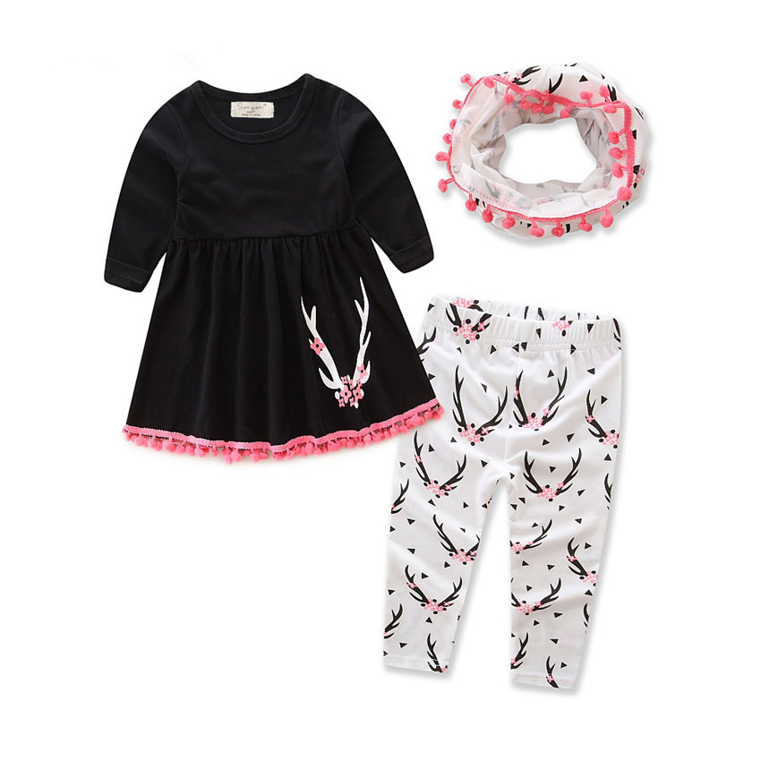 5701275d948a Hot Sale Baby Girls Outfits 3pcs Sets Halloween Costume Kids Fall ...