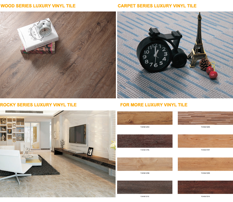 Click Woven Homogeneous Tile Wood Luxury Vinyl Roll Heat