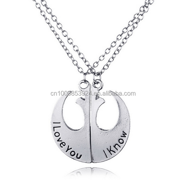 Star-Wars Rebel Alliance Lapel Pin Rebel Badge Emblem Pendant I Love You I Know Lover's Couple Necklace Movie Jewelry Wholesale