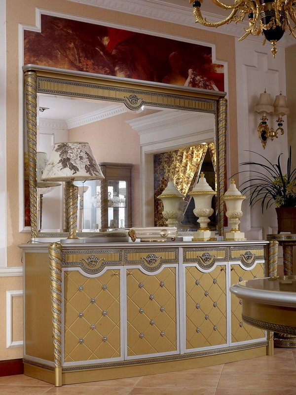 Yb16 Luxury French Louis Xv Golden Buffet Sideboard
