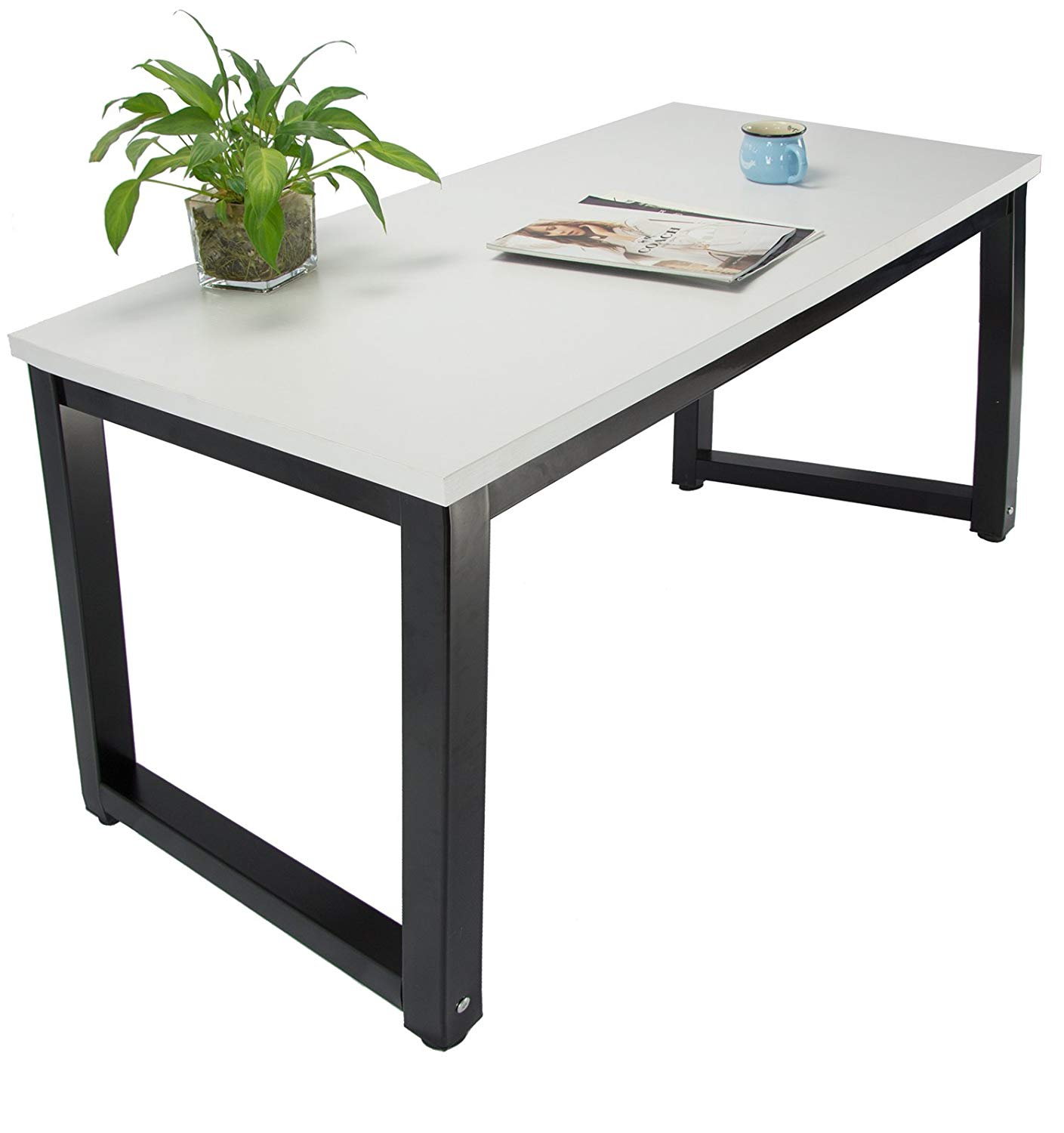 Get Quotations · Office Computer Desk Laminated Wooden Particleboard Table  And Black Powder Coated Steel Frame   Work Or