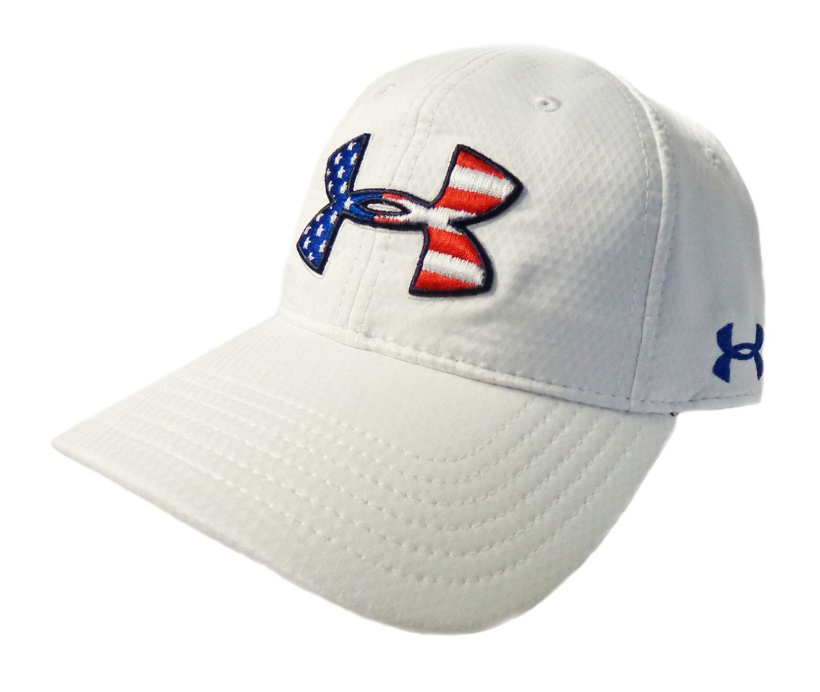 96f6a361be2 NEW Under Armour Heat Gear Performance USA Flag Logo Adjustable White Golf  Hat