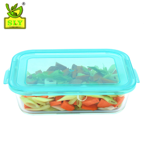 Square Customized Glass Food Container With Plastic Cover/ Glass Hot Food Storage Box With Plastic Lids