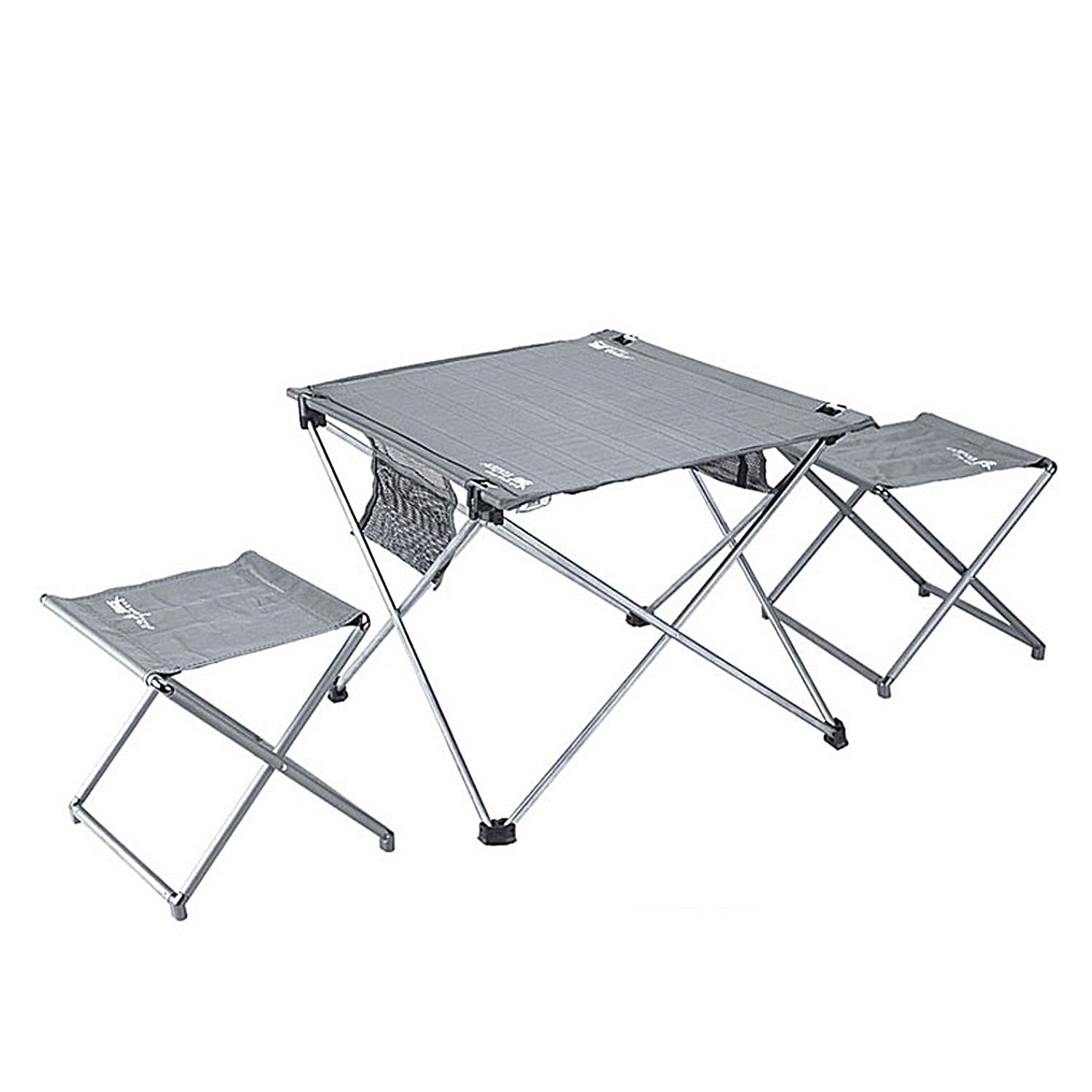 Lightweight Folding Table and Stools in a Carrying Bag-Pretty Handy- Aluminum Portable Table & Stools, Foldable Outdoor Table Stools for Camping, Beach, Picnic, Patio, Fishing, Indoo