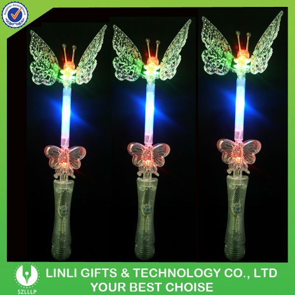 Plastic LED Flashing Butterfly Wand