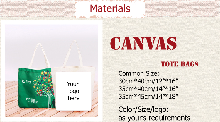 custom reusable Cotton canvas tote  Bag with your logo