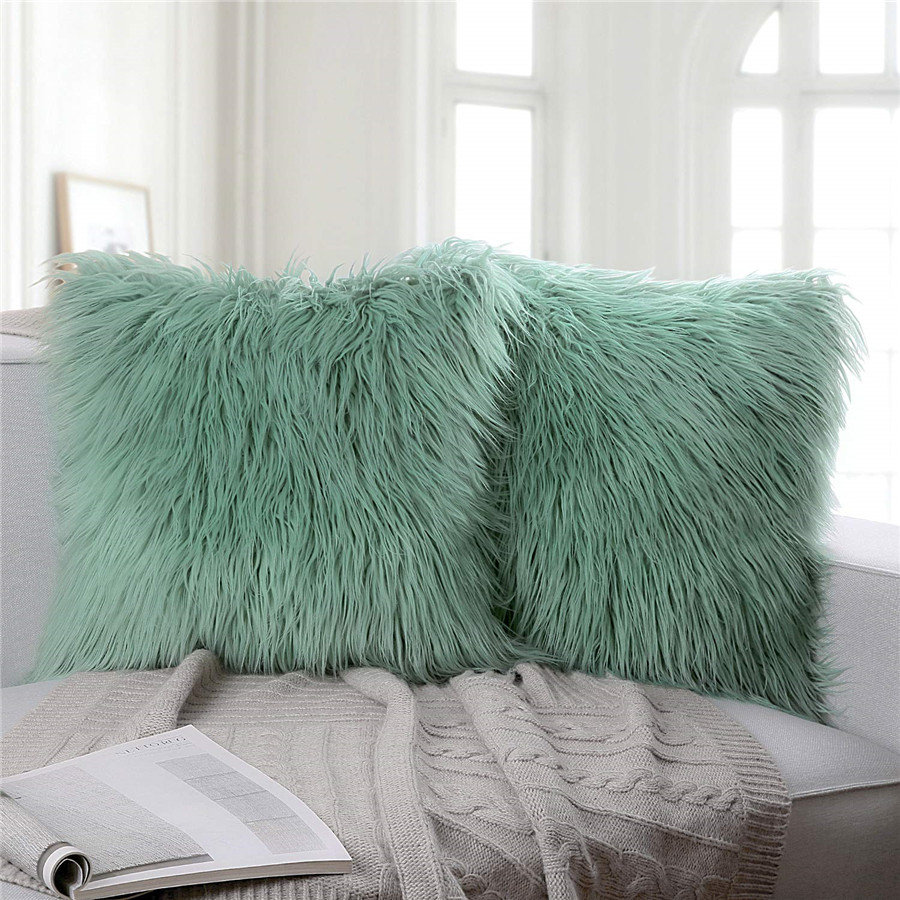 Unique Design Plush Soft Gray Faux Rabbit Fur crown shaped cushion