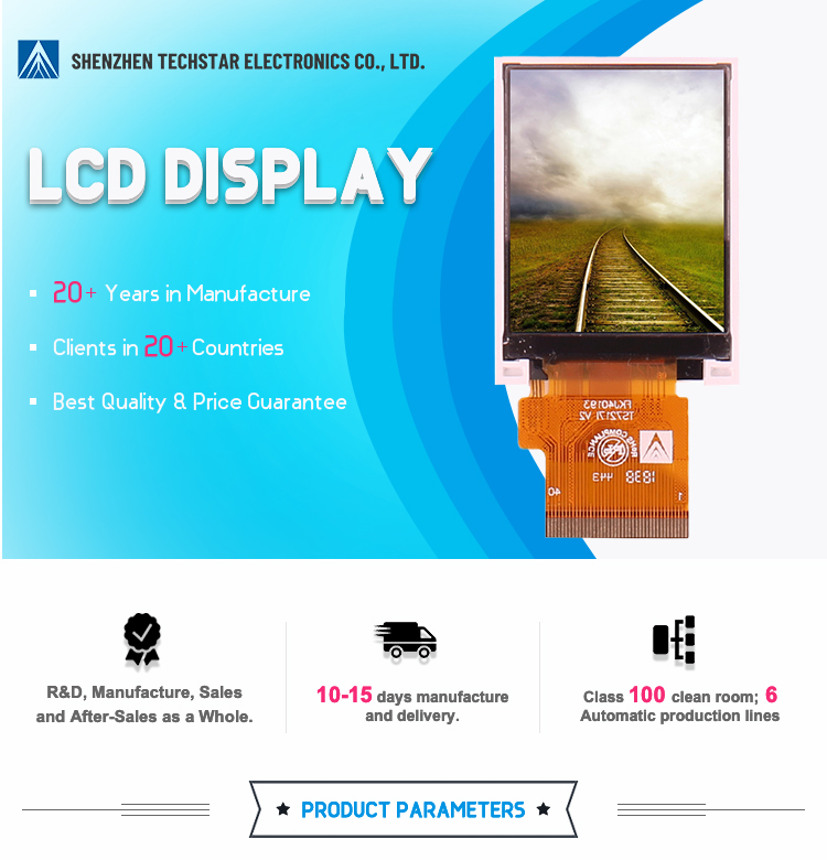 ODM/OEM 2/2.4/2.8/3/3.5/4/4.3/5/6/7/8/10.1 Inch LCD TFT