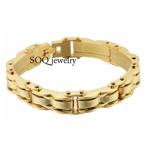 Byzantine Style 18k Brazilian Gold Plated Stainless Steel Chunky Bracelet for Men Cool Jewelry