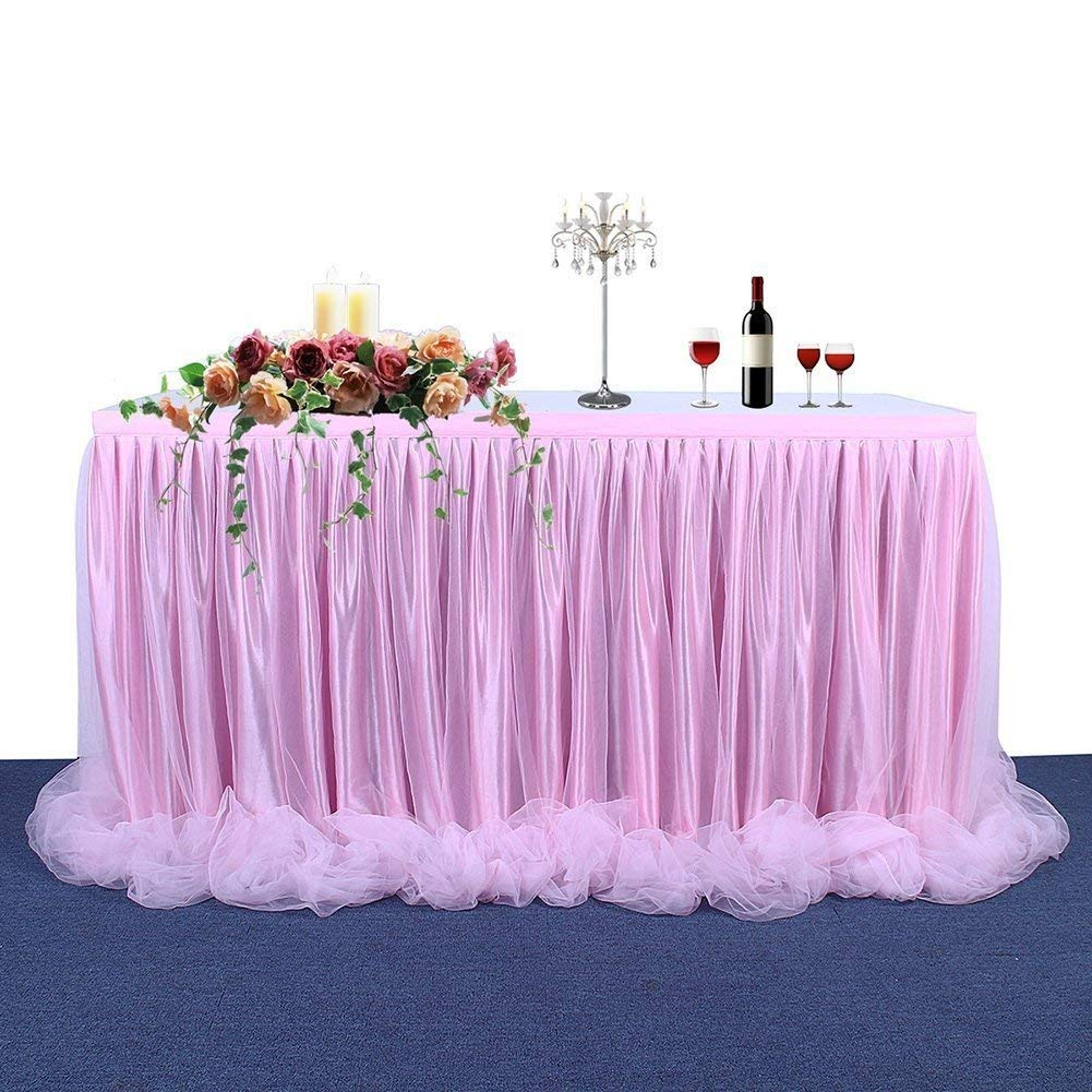 2402776458 Haperlare 9ft Tablecloth Pink Tulle Table Skirt Pink Tablecloth Skirting  Tutu Tablecloth with Long Tulle for