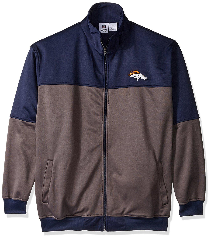 NFL Denver Broncos Unisex Poly fleece Track Jacket, CHARCOAL/Orange, 2X/Tall
