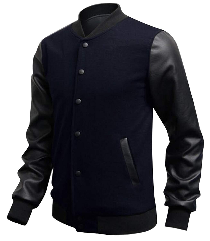 Pandapang Mens Single Breasted Fleece Winter PU Leather Moto Biker Jacket Coat