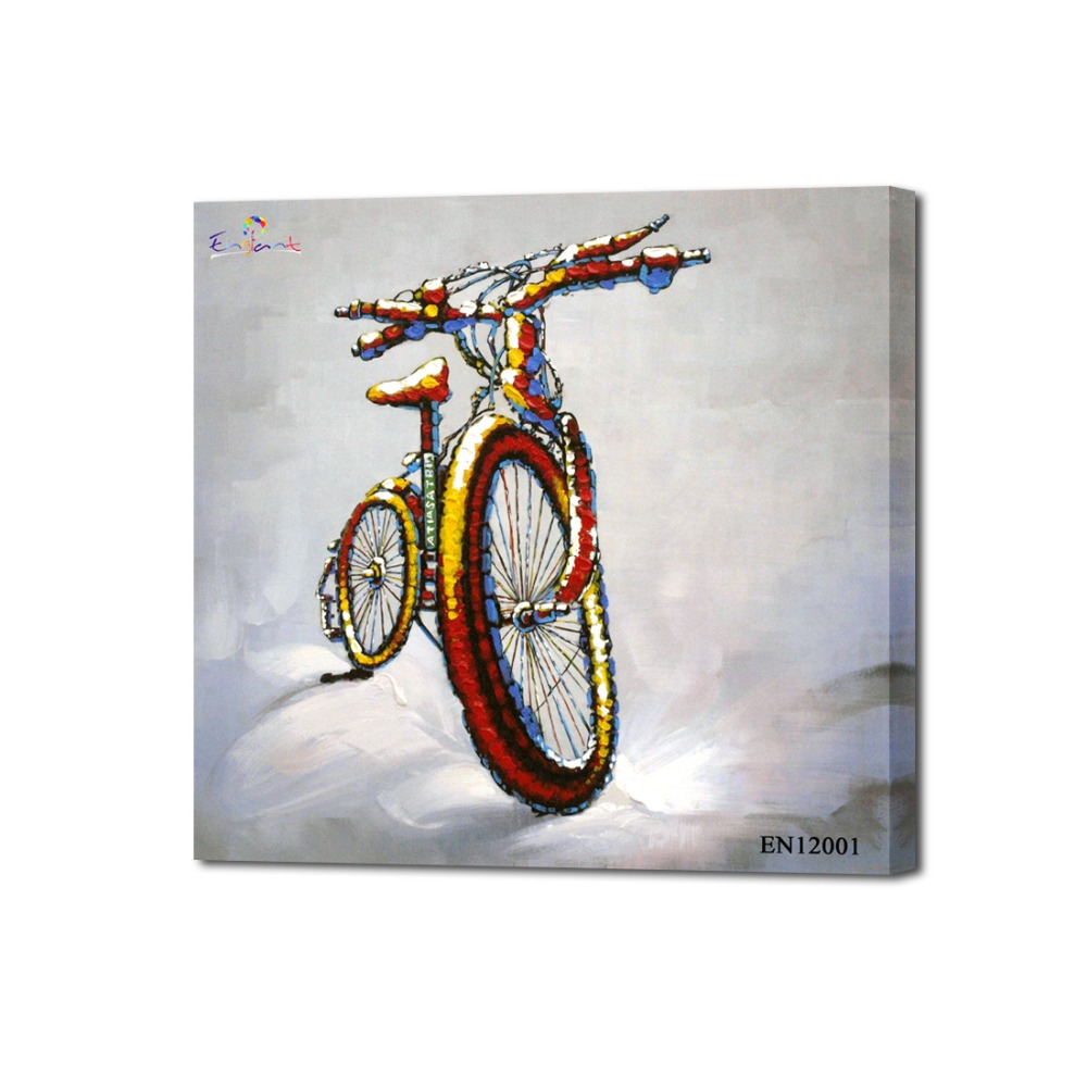 Still life bike oil painting pop bicycle pop art painting