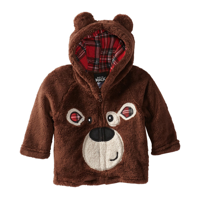 Children boys bear pattern hooded faux fur winter coats