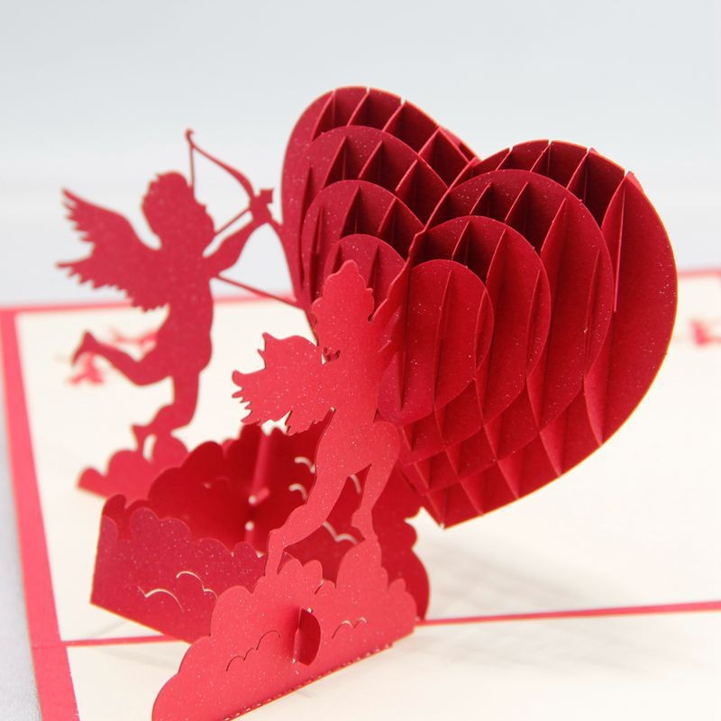 Сердце в открытке объемное, плейкасте спасибо