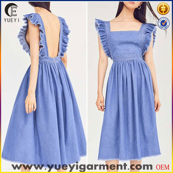 5aaeb8f3e2 Blue Midi Denim Ruffle Apron Dress Women - Buy Midi Denim Dress ...