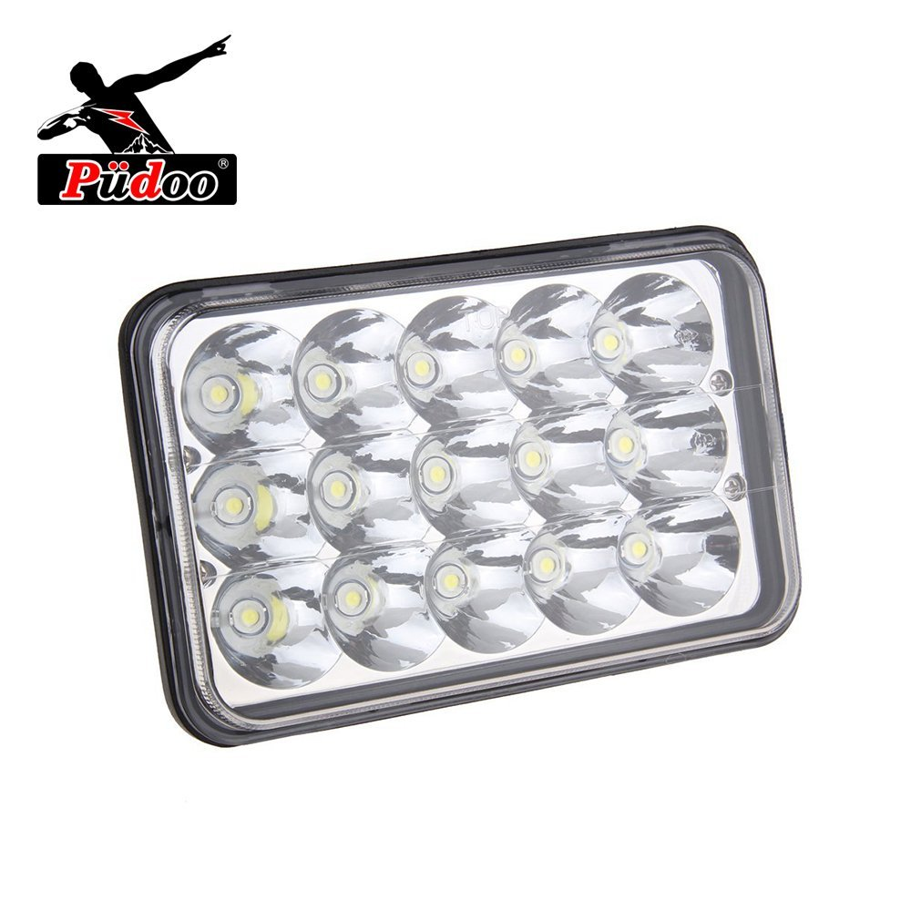 Pudoo 2 Pcs Rectangular 4 x 6 45W LED Sealed Beam Headlight High low Beam H4 Replace HID Xenon Headlights bulbs white H4651 H4652 H4656 H4666 H6545 Projector lens