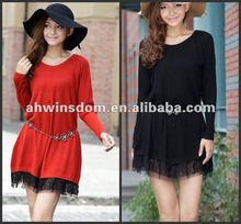 ladies autumn fashion long sweater with lace