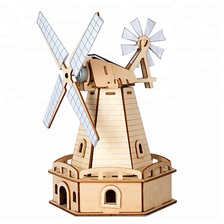 DIY Fun Toys Blades Spinning Educational Solar Windmill Toy