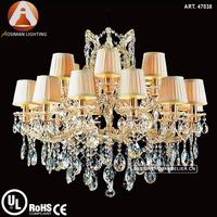 18 Light European Maria Theresa Chandelier with White Lampshade