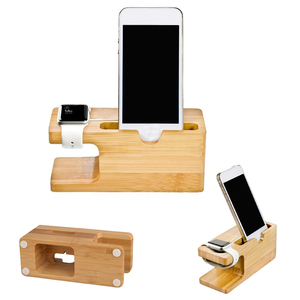 Bamboo wood 2 in 1 watch mobile phone card charger stand holder charging station