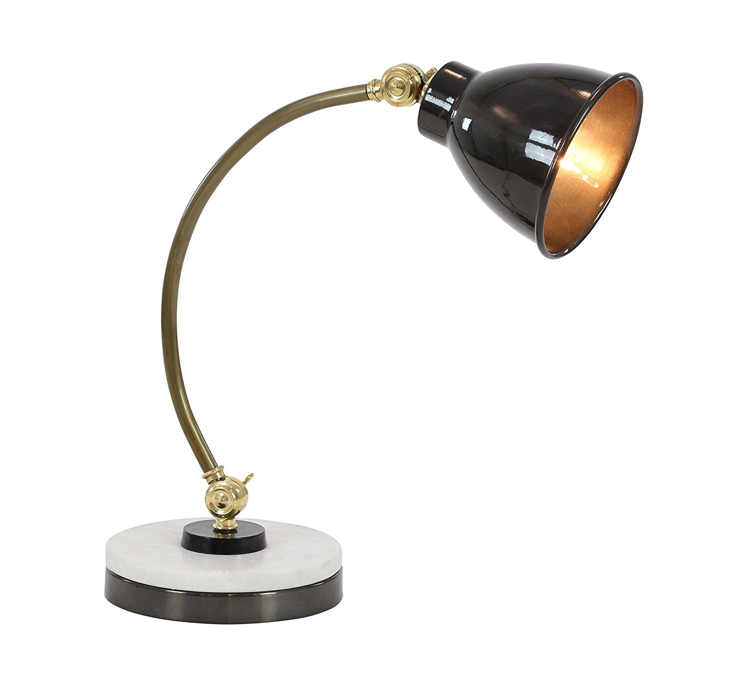 """Deco 79 28548 Black Iron and Marble Task Lamp, 16"""" x 15"""", Brass/White/Silver"""